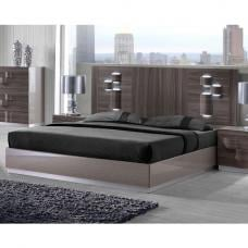 Swindon Double Bed In Zebra Wood And Grey High Gloss With LED