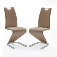 Amado Z Cappuccino Faux Leather Dining Chair In A Pair
