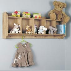 Amila Oak Wooden Wall Shelf with Hanging Pegs