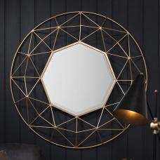 Roman Wall Mirror Round In Metal Frame With Gold Finish