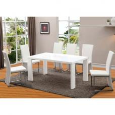 Arctic White Finish Glass Top Dining Table And 6 Dining Chairs
