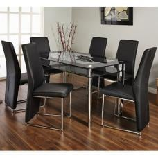 Athens Clear Glass Top With Black Trim Dining Table And 6 Chairs