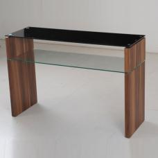 Atlanta Black Glass Console Table With Underself And Walnut Leg