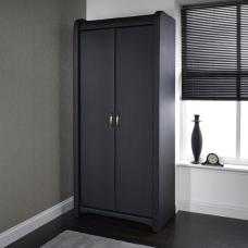 Azari Wardrobe In Black Faux Leather With 2 Doors