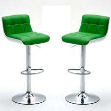 Bob Bar Stools In Green Faux Leather in A Pair