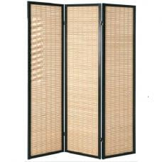Bamboo Black Room Divider With Wood 3 Panel