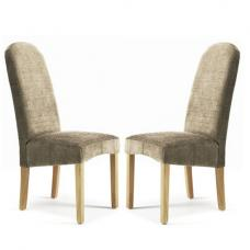 Jennifer Dining Chair In Bark Fabric With Oak Legs in A Pair