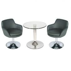 Belize Glass Bistro Table In Clear And 2 Grey Bucketeer Chairs