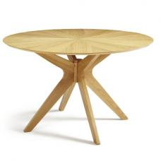 Rebecca Round Dining Table In Solid Oak With Star Burst Effect