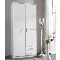 Florence White Wooden Wardrobe With Diamante 2 Door 2 Drawer