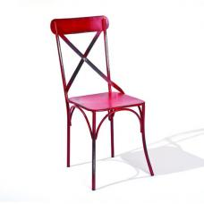 Bistro Metal Dining Chair In Red