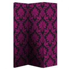 Damask Black And Pink Room Divider With Flock Effect