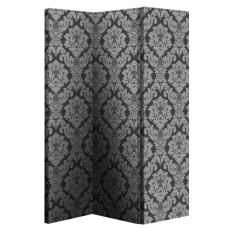 Damask Black And Silver Room Divider With Flock Effect
