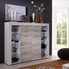 Baltic Highboard In White With Oak Fronts And LED Lighting
