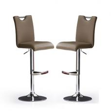 Bardo Bar Stools In Cappuccino Faux Leather in A Pair
