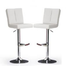 Bruni Bar Stools In White Faux Leather in A Pair