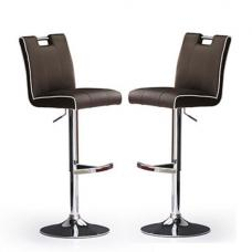 Casta Bar Stools In Brown Faux Leather in A Pair