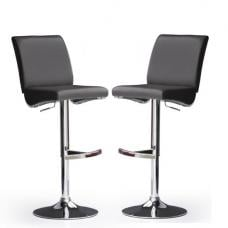 Diaz Bar Stools In Black Faux Leather in A Pair