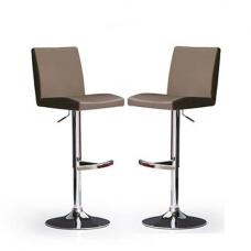 Lopes Bar Stools In Cappuccino Faux Leather in A Pair