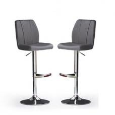 Naomi Bar Stools In Grey Faux Leather in A Pair