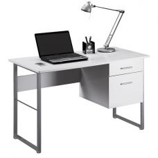 Kassel Computer Desk Rectangular In White Gloss And Grey Frame