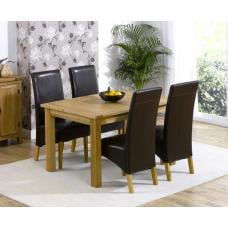 Cipriano Extending Oak Dining Table And 4 Leather Chairs