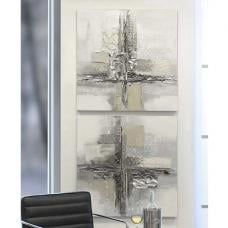 Cross Oil Painting Wall Art In Canvas Wood And Metal