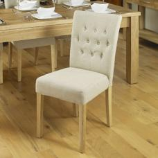 Novian Dining Chair In Biscuit With Oak Legs In A Pair