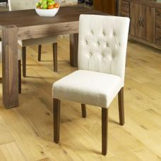 Novian Dining Chair In Biscuit With Walnut Legs In A Pair