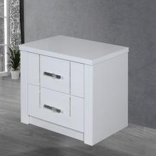 Cloral Bedside Cabinet In White Gloss With 2 Drawer And Diamante