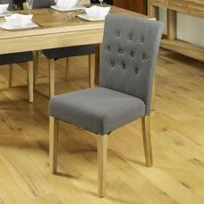 Novian Dining Chair In Slate With Oak Legs In A Pair