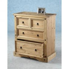 Corona Chest of Drawers In Distressed Pine With 4 Drawers