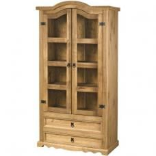 Corona Waxed Pine 2 Door Glass Display Unit