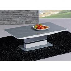 Arctica Glass Coffee Table In Grey With White High Gloss Base