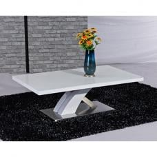 Mayfair Glass Coffee Table In White With High Gloss Base