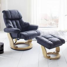 Calgary Relaxing Chair In Black Leather And Oak With Foot Stool