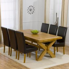 Avignon Extending Dining Table And 6 Brown Rustique Dining Chair