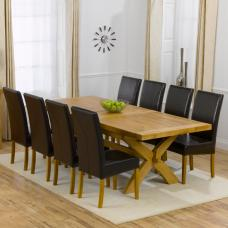 Avignon Oak Extending Dining Table And 8 Brown Rustique Chairs
