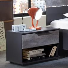 Clovis Bedside Cabinet In Lave Front Carcase And Concrete Insert