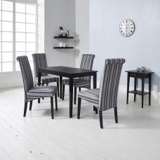Carmel Wooden Dining Table In Matt Black And 4 Grey Chairs
