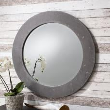 Chilton Wall Mirror Round In Hand Applied Concrete Resin Frame
