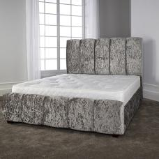 Winstead Trendy Bed In Glitz Silver With Wooden Feet