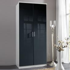 Alton Wardrobe In Gloss Black And Alpine White With 2 Doors