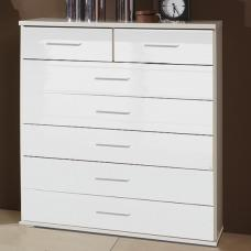Alton Wide Chest of Drawers In High Gloss Alpine White