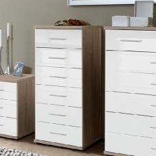 Alton Chest Of Drawers Tall In High Gloss White And Oak