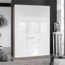 Alton Wardrobe In High Gloss White And Oak With 3 Door 3 Drawers