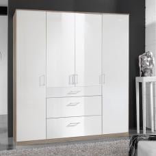 Alton Wardrobe In High Gloss White And Oak With 4 Door 3 Drawers