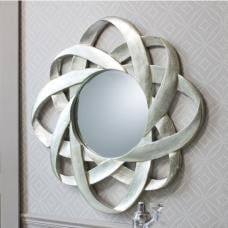 Costello Wall Mirror Round In Hand Applied Silver Leaf