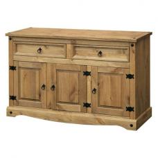 Corina Medium Sideboard In Waxed Pine With 3 Doors And 2 Drawers