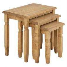 Cotswold Wooden Nest of Tables In Waxed Pine